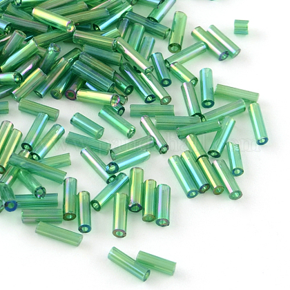 Tube AB-Color Plated Glass Bugle BeadsX-SEED-R011-167-1