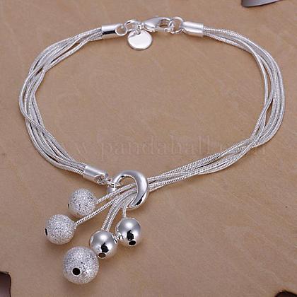 Brass Ball Charm Bracelets For WomenBJEW-BB12609-1