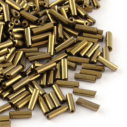 Tube Plated Glass Bugle BeadsX-SEED-R011-701-1