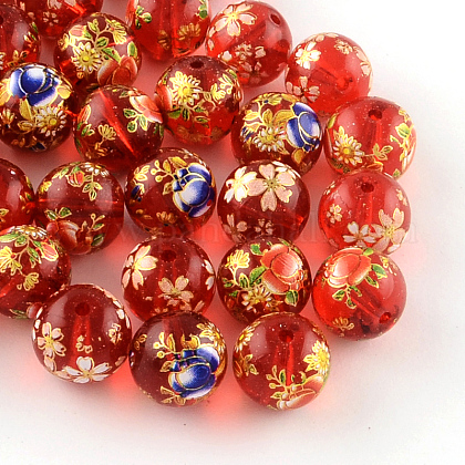 Mixed Flower Picture Printed Glass Round BeadsX-GFB-R004-12mm-M16-1