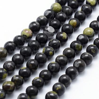 Chapelets de perles en jaspe à pois verts naturelsG-P326-11-12mm-1