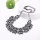 Mujeres de la moda de joya de zinc collares del collar de rhinestone de cristal de aleación babero declaración gargantillaNJEW-BB15143-D-2