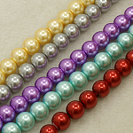 Glass Pearl Beads Strands, Round, Mixed Color, 10mm, Hole: 1~1.5mm, about 85pcs/strand, 32