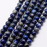 Natural Lapis Lazuli Beads Strands, Round, 5.5~6mm, Hole: 1mm, about 63pcs/strand, 15.5inches(39cm)