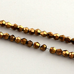 Electroplate Glass Bead Strands, Rainbow Plated, Faceted Bicone, Copper Plated, 4x4.5mm, Hole: 1mm; about 104pcs/strand, 18