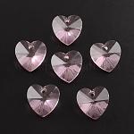 Colgantes del corazón de cristal transparente, facetados, rosa, 14x14x8mm, agujero: 1.5 mm