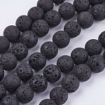 Natural Lava Rock Bead Strands, Round, 10mm, Hole: 1mm, about 40pcs/strand, 15.7 inches