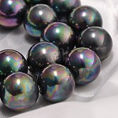 Hebras de cuentas de concha, grano de la perla de imitación, Grado A, redondo, negro, 16mm, agujero: 1 mm; 25 unidades / cadena, 16