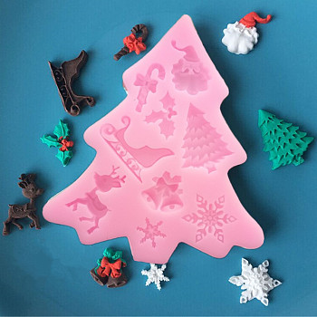 食品グレードのシリコーン型, フォンダン型, DIYケーキデコレーション用, チョコレート, キャンディ, 石鹸, UVレジン&エポキシ樹脂ジュエリー作り, クリスマステーマ, ホットピンク, 105x95x8ミリメートル、インナー:13~31ミリメートル