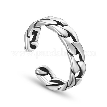 SHEGRACE® Antique Curb Chain 925 Sterling Silver Cuff Rings JR153A-1