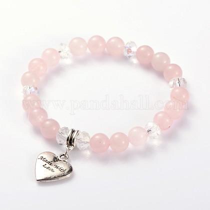 Para el corazón del día de san valentín con pulseras elásticas con cuentas de piedras preciosas naturales hechas con amorBJEW-JB01837-02-1