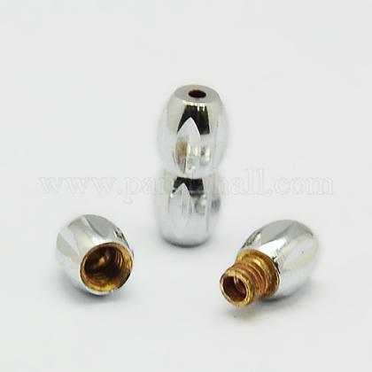 Brass Screw Clasps for NecklacesKK-F0256-P-1