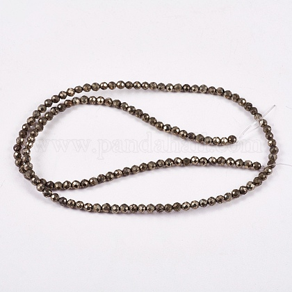 Natural Pyrite Beads Strands G-L031-3mm-03-1