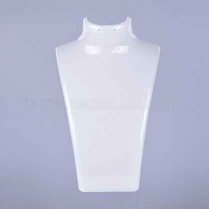 有機ガラスのネックレスとイヤリングのスタンディングバストディスプレイNDIS-E006-2A-1