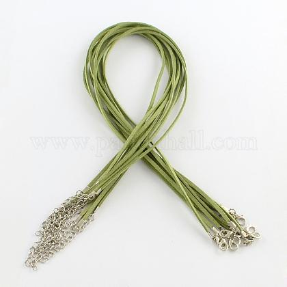2mmフェイクスエードコードネックレス作り用アイアンチェーン&カニカンNCOR-R029-01-1