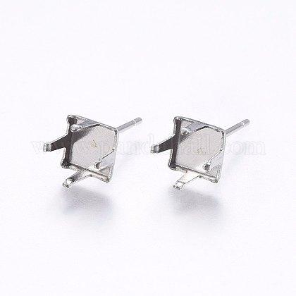 304 Stainless Steel Stud Earring SettingsSTAS-I095-02P-E-1