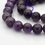 Natural Amethyst Round Beads Strands, Indigo, 10mm, Hole: 1mm; about 40pcs/strand, 15.7
