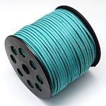 Cordón de gamuza sintética ambiental, encaje de imitación de gamuza, darkturquoise, 3.0x1.4 mm; aproximamente 90 m / rollo