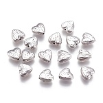 Tibetan Style Alloy Heart Carved Stripes Beads, Lead Free & Nickel Free, Antique Silver, 8x8x4mm, Hole: 1.5mm