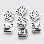 Tibetan Style Beads, Lead Free and Cadmium Free, Cube, Antique Silver, about 14mm long, 14mm wide, 5mm thick, hole: 2x11mm