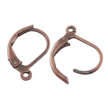 Descubrimientos de pendientes de palanca de latón cobre rojo, con bucle, sin plomo y cadmio, tamaño: aproximamente 10 mm de ancho, 15 mm de largo, agujero: 1 mm