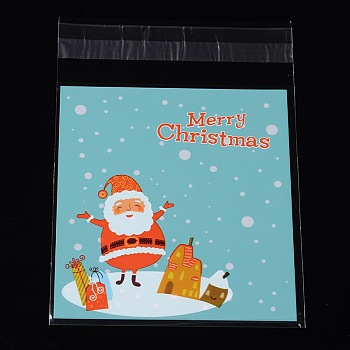 Rectangle OPP Cellophane Bags for Christmas, with Santa Claus Pattern, Turquoise, 14x9.9cm; Unilateral Thickness: 0.035mm; Inner Measure: 11x9.9cm, about 95~100pcs/bag