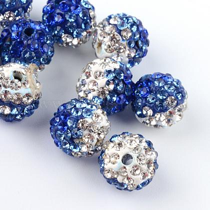 Abalorios de la bola de polímero coloreado a mano disco de la arcilla de dos tonosRB-R041-10-1