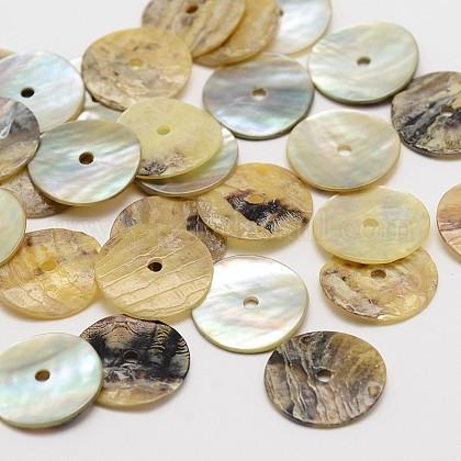 Flat Round Natural Akoya Shell BeadsSHEL-N034-09-13mm-1