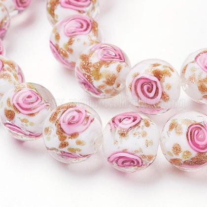 Handmade Gold Sand Lampwork Beads StrandsLAMP-L072-G08-1