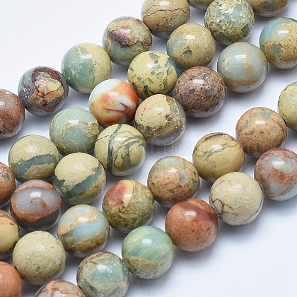 Натуральные бусины из аква терра яшмыG-E444-14B-10mm-1