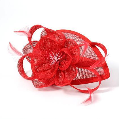Elegant Red Fascinators UK for WeddingsOHAR-S166-01-1