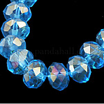 Electroplate Glass Beads Strands, AB Color Plated, Faceted, Rondelle, DeepSkyBlue, 4x3mm, Hole: 1mm; about 140~145pcs/strand, 16inches