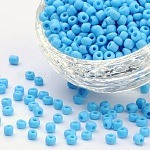 Glass Seed Beads, Opaque Colours Seed, Round, LightSkyBlue, Size: about 4mm in diameter, hole:1.5mm, about 4500pcs/pound