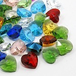 Romantic Valentines Ideas Glass Charms, Faceted Heart Charms, Mixed Color, 10x10x5mm, Hole: 1mm