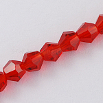Imitation Austrian Crystal 5301 Bicone Beads, Faceted Glass Beads Strands, Red, 2x3mm, Hole: 0.5mm; about 200pcs/strand, 16.5