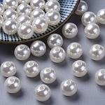 Imitation Pearl Acrylic Beads, Dyed, Round, Creamy White, 10x9.5mm, Hole: 2.5mm; about 1070pcs/pound