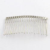 Iron Hair Comb Findings, Platinum, 38x75x5mm