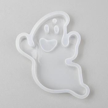 Хэллоуин DIY призрак кулон силиконовые Молды, Молды для литья смолы, для уф-смолы, изготовление ювелирных изделий из эпоксидной смолы, белые, 80x57x11 мм, отверстие : 3 мм, Внутренние размеры: 76x51 mm
