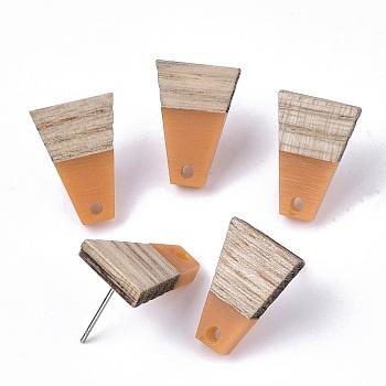 Pendientes de resina y madera de cedro, con 304 perno de acero inoxidable, trapezoide, coral, 18x12.5mm, agujero: 1.8 mm, pin: 0.7 mm