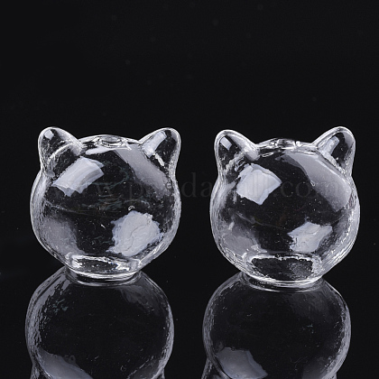 Handmade Kitten Blown Glass Globe Beads X-GLAA-Q077-01-1