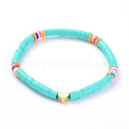 Handmade Polymer Clay Heishi Bead Stretch BraceletsBJEW-JB05077-04-1