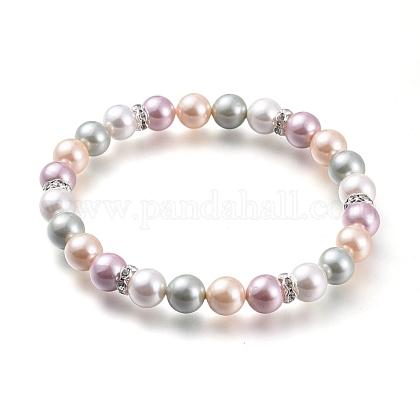 Круглые браслеты с жемчугом и бусинамиBJEW-JB05510-01-1