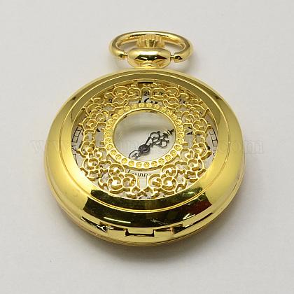 Cabezas vendimia huecos planos redondos de aleación de zinc reloj de cuarzo reloj de bolsillo para el collar del colganteWACH-R005-31-1