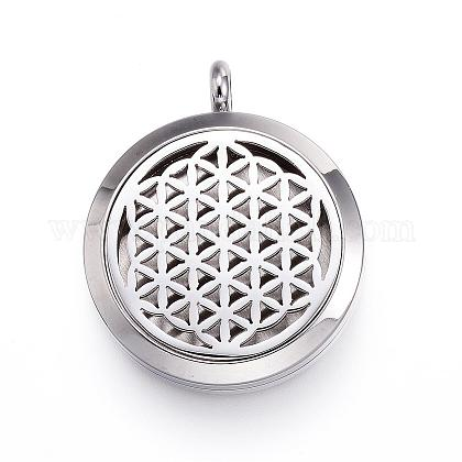 316 Stainless Steel Diffuser Locket Pendants STAS-P102-095B-1