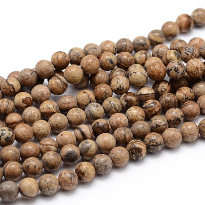 Natural Picture Jasper Round Bead Strands G-J303-08-8mm-1