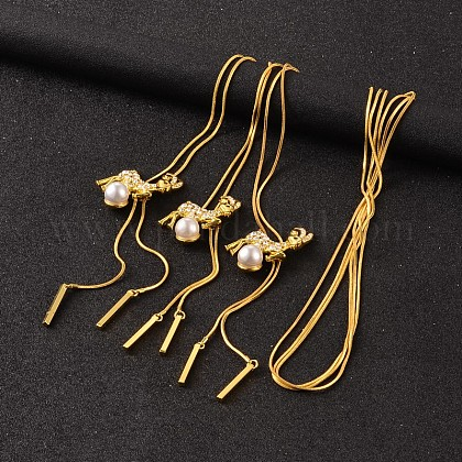 Largo de los ciervos de aleación de rhinestone ajustable collares LariatNJEW-F194-03G-1