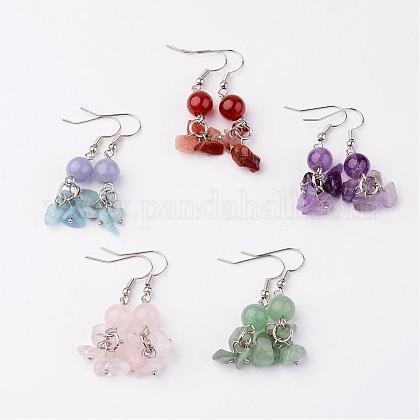 Natural Gemstone Dangle EarringsEJEW-JE02120-1