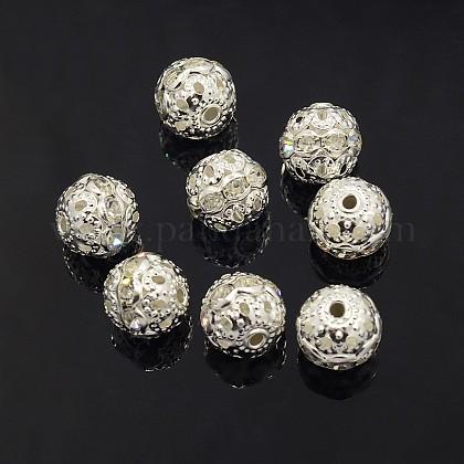 Abalorios de Diamante de imitación de latónRB-A011-10mm-01S-1