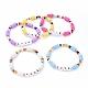 Handmade Polymer Clay Heishi Beads Stretch BraceletsBJEW-JB05159-M-1