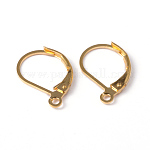 Brass Leverback Earring Findings, with Loop, Lead Free and Cadmium Free, Golden, about 10mm wide, 15mm long, hole: 1mm